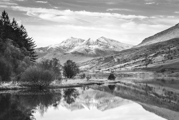 Snowdon Horseshoe Reflection B&W