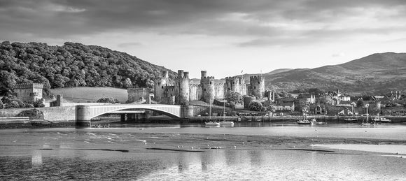 Conwy Harbour & Quay - B&W Panorama