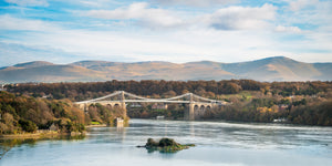 "Blue Sky at Menai Bridge - 24x12"" Panoramic Canvas Wrap"