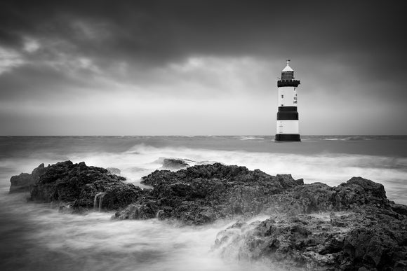 Penmon Lighthouse - Turbulent Tide B&W