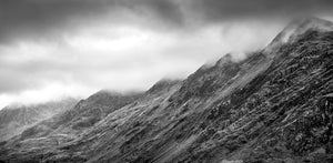 B&W Low Clouds at the Peaks - Dinorwic Quarry - A stormy day in Snowdonia National Park with the grey sky above imitating the slate colour below