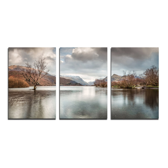 Llyn Padarn & The Lone Tree - Panoramic Canvas Wrap Triptych