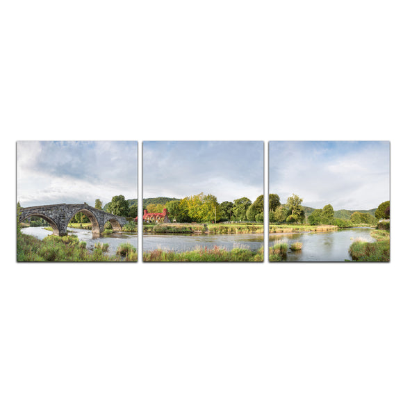 Along the Riverbank - Ivy Cafe, Llanrwst - Panoramic Canvas Wrap Triptych