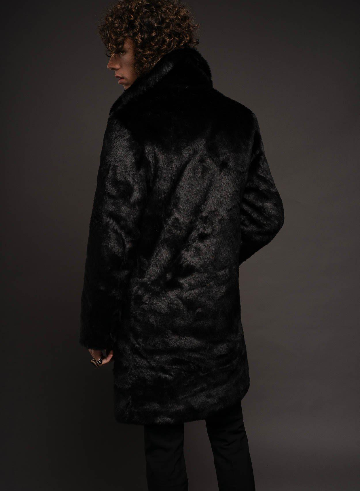 Black Chelsea Faux Fur Coat-PhixClothing.com