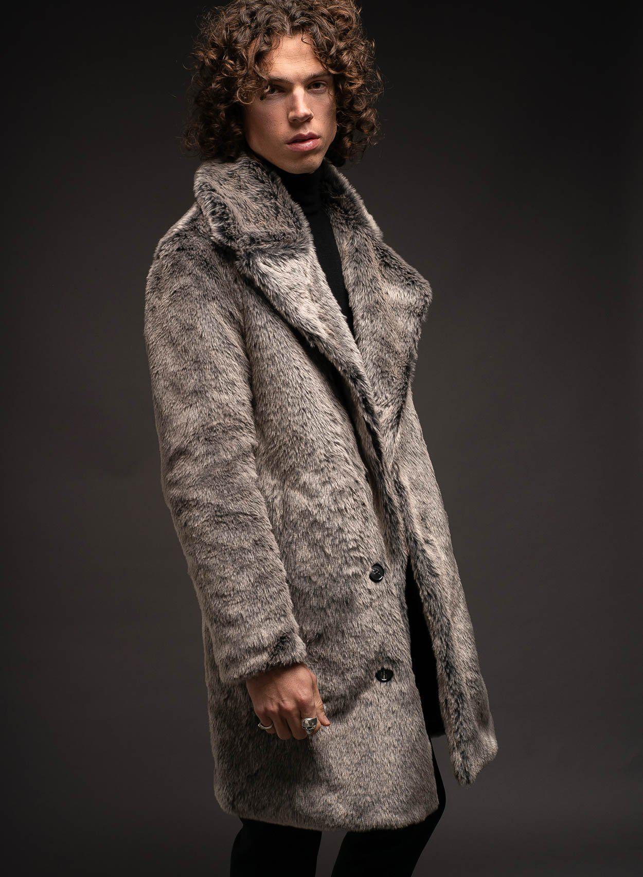 Grey Chelsea Faux Fur Coat-PhixClothing.com