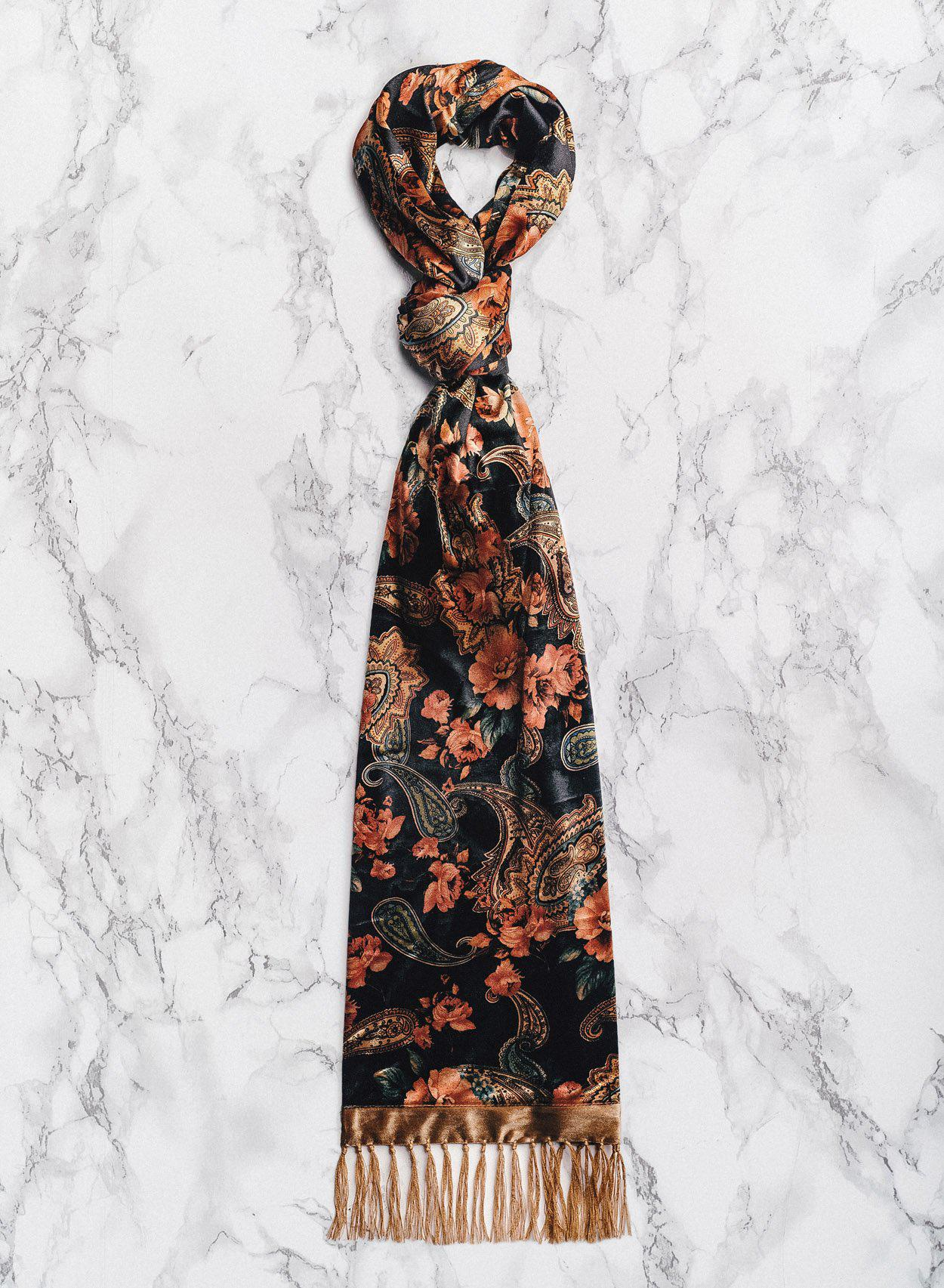 English Rose Velvet Paisley Scarf-PhixClothing.com