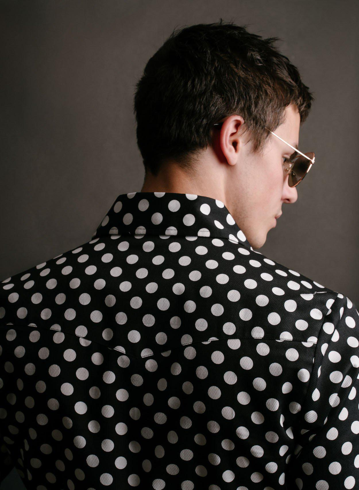 Black & White Polka Dot Shirt-PhixClothing.com
