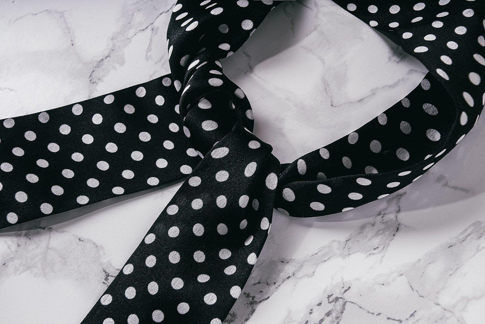 Black Polka Dot Silk Scarf-PhixClothing.com