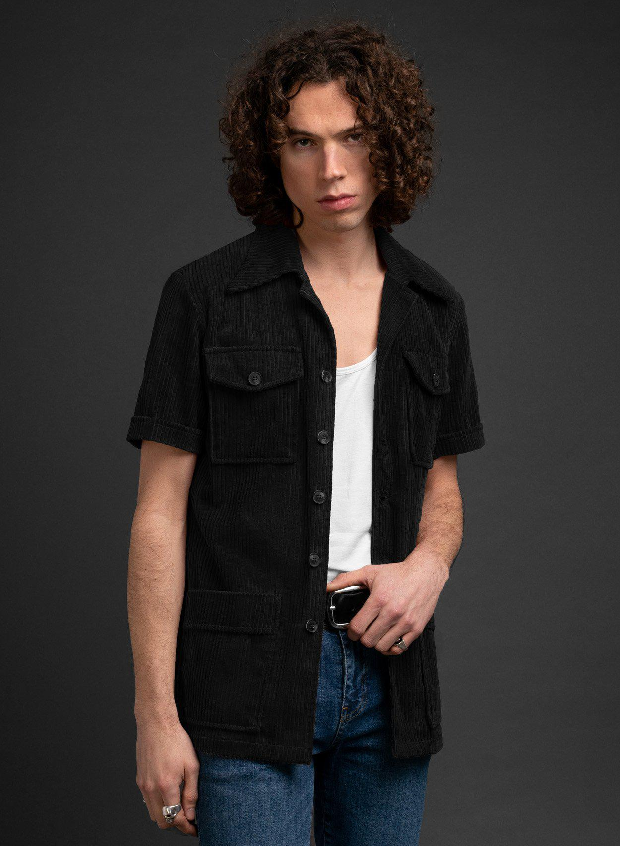 Melton Black Cord Shirt-PhixClothing.com
