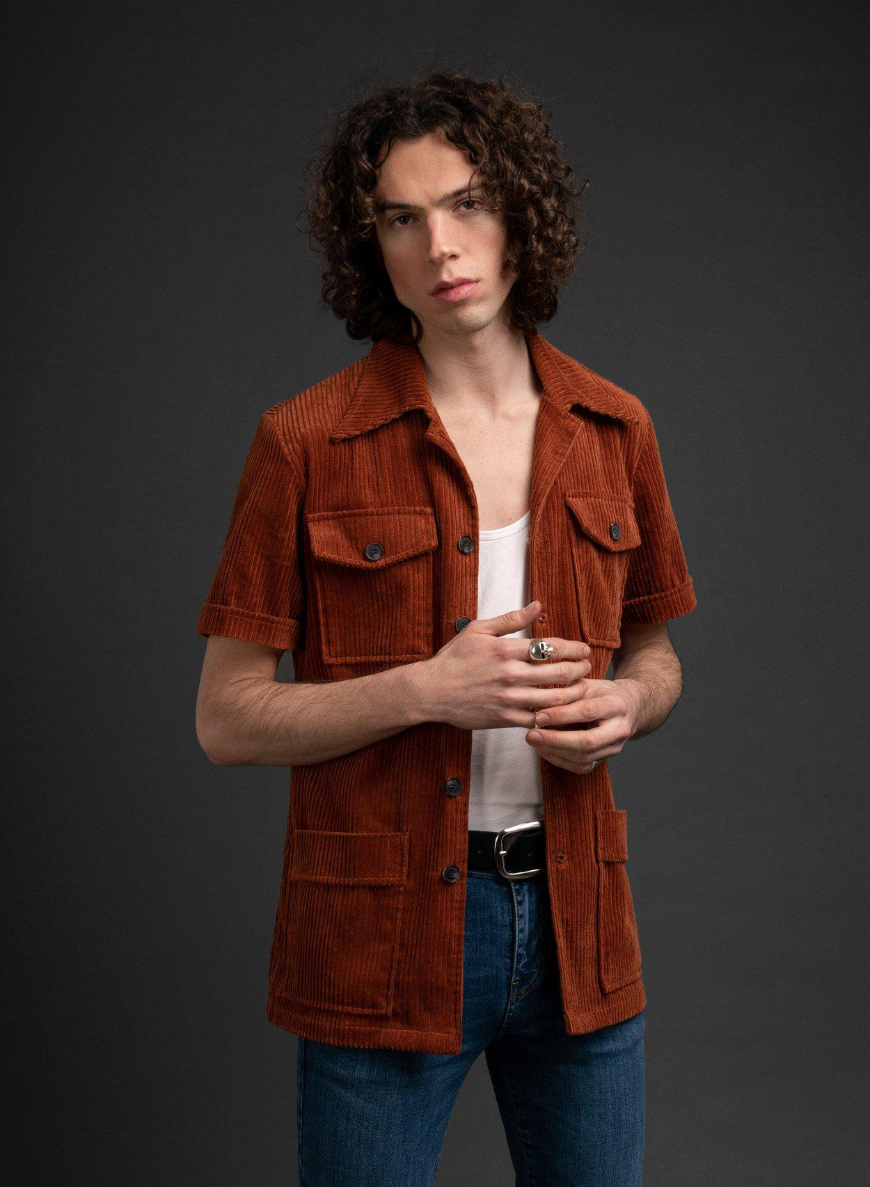 Melton Orange Cord Shirt-PhixClothing.com