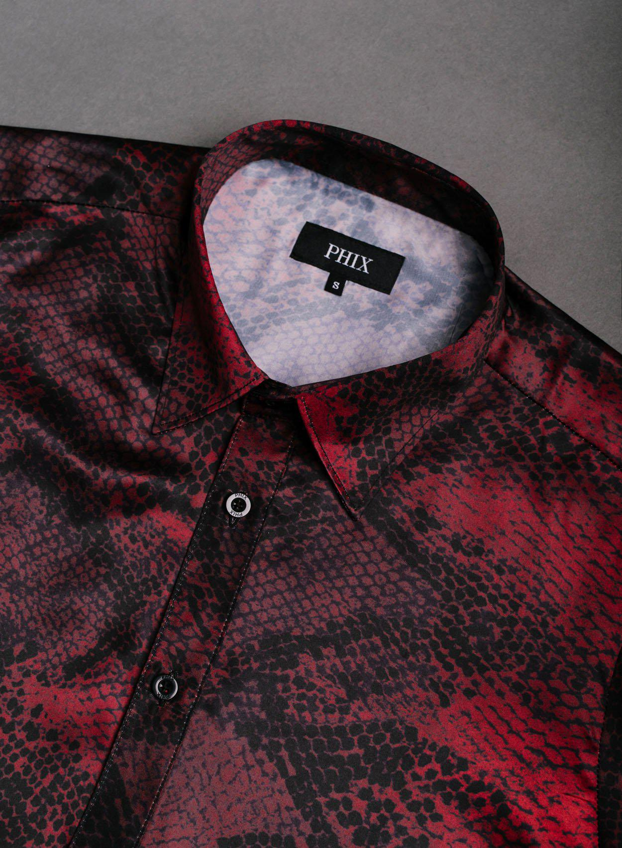 Red Satin Snake Print Shirt-PhixClothing.com