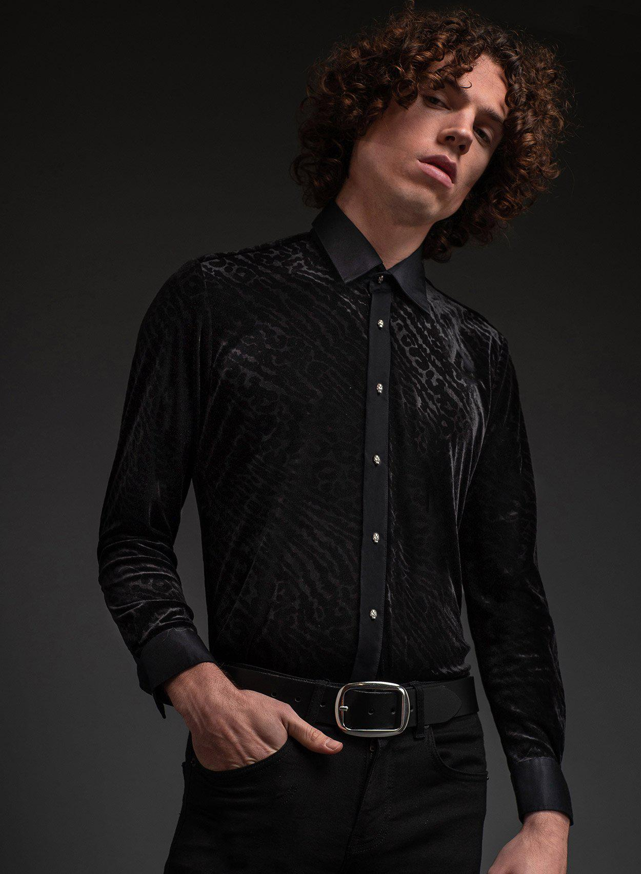 Black Leopard Skull Button Shirt-PhixClothing.com
