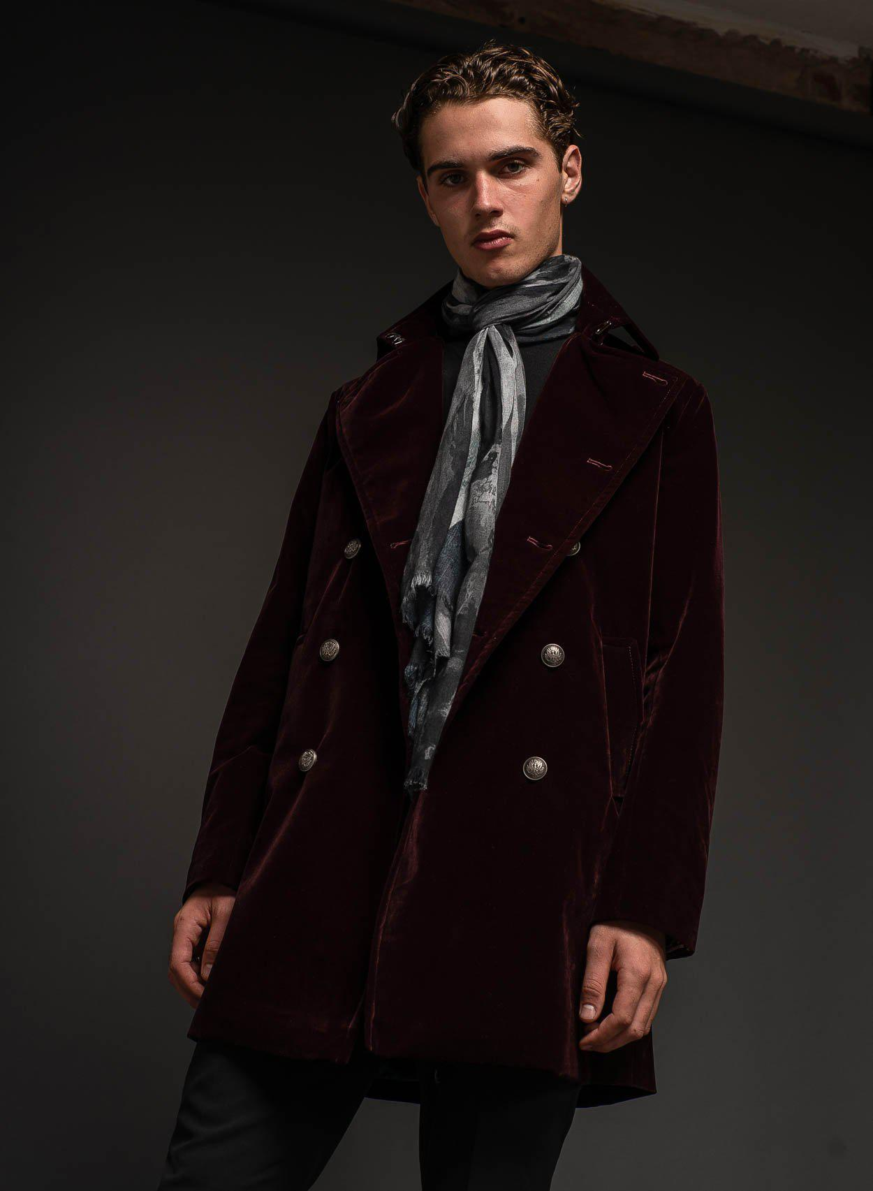 Richmond Velvet Burgundy Peacoat-PhixClothing.com