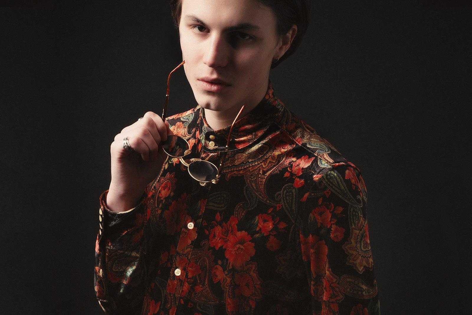 English Rose Velvet Paisley Kaftan Shirt-PhixClothing.com