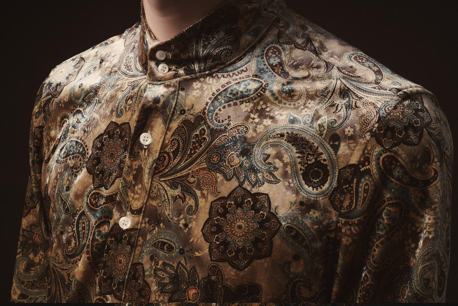 Richards Velvet Paisley Kaftan Shirt-PhixClothing.com