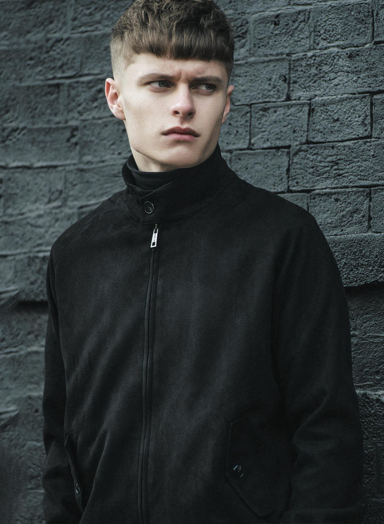 Stretford Black Suedette Harrington Jacket-PhixClothing.com