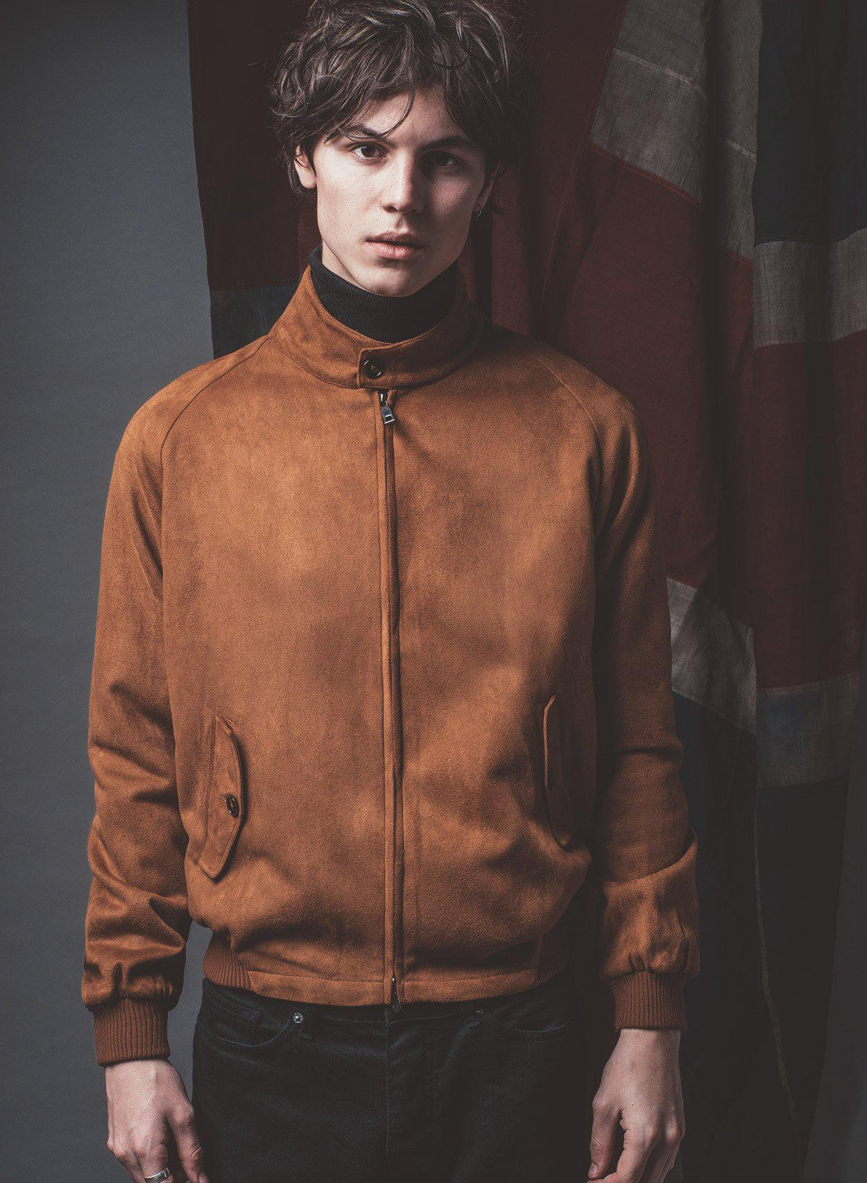 Stretford Brown Suedette Harrington Jacket-PhixClothing.com