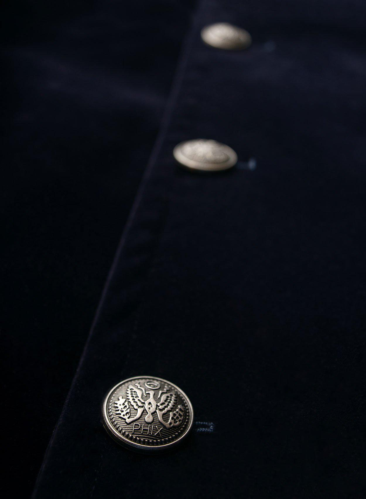 Richmond Velvet Navy Pea Coat-PhixClothing.com