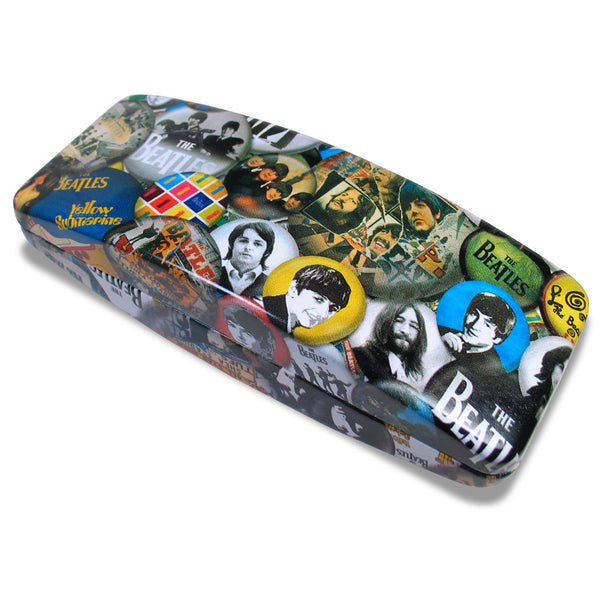 """Buttons"" Eye Glass Case, a design by The Beatles, comes from ACME Studio's line of designer Eye Glass Cases. It features a hard hinged case with black interior. The interior is marked with the designer name and the ACME logo. The case is packaged in a black ACME box.  © 2011 Apple Corps Ltd. A Beatles™ Product  This product is part of the PERMANENT COLLECTION OF THE ROCK & ROLL HALL OF FAME"