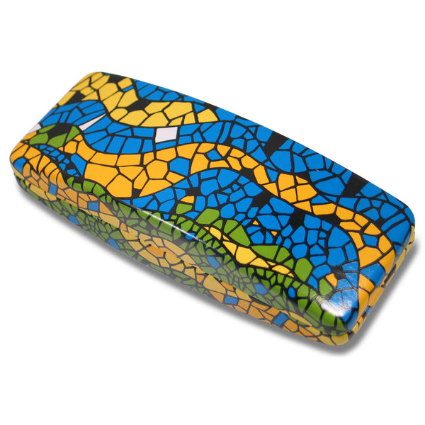 """Mosaic"" Eye Glass Case, a design by Antoni Gaudi, comes from ACME Studio's line of designer Eye Glass Cases. It features a hard hinged case with black interior. The interior is marked with the designer name and the ACME logo. The case is packaged in a black ACME box."