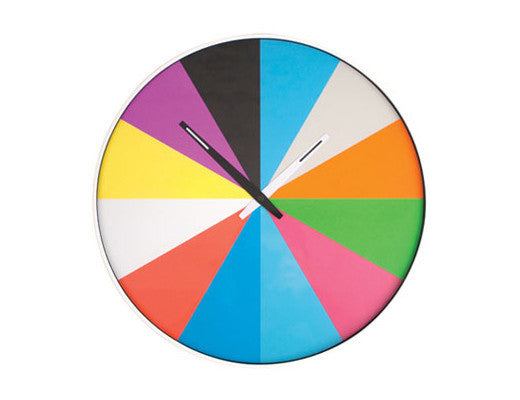 Kikkerland Ultra Flat Multi Color Wall Clock
