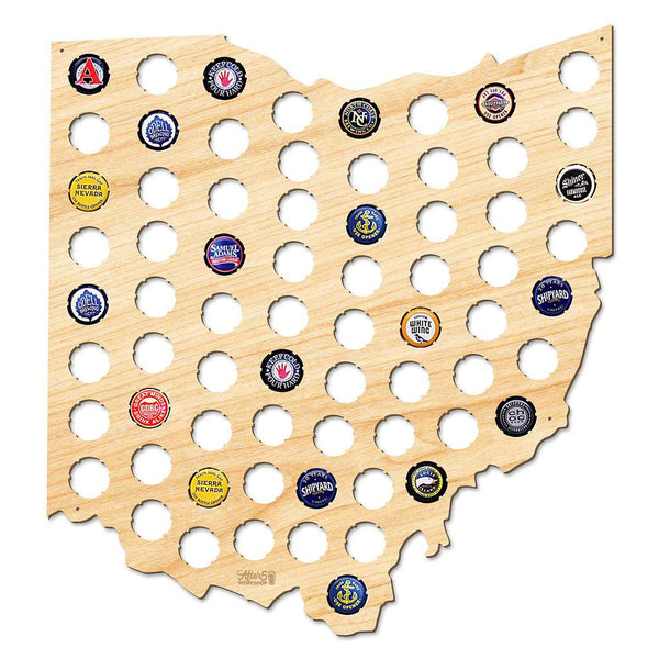 Ohio Beer Cap Map | Large
