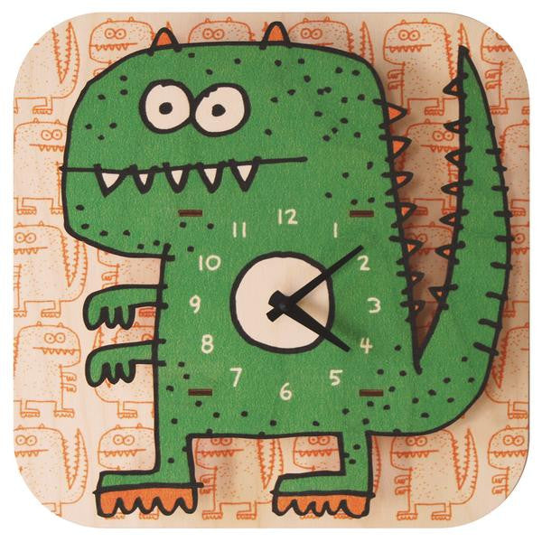 Dinosaurs are awesome. Especially green ones with toothy grins. Perfect for children's decor // Modern Moose Basic Clocks Made in USA | Dinosaur Clock $45