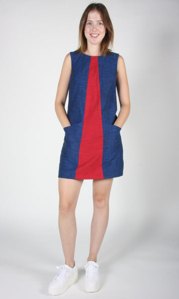Antshrike Dress - Blue and Red