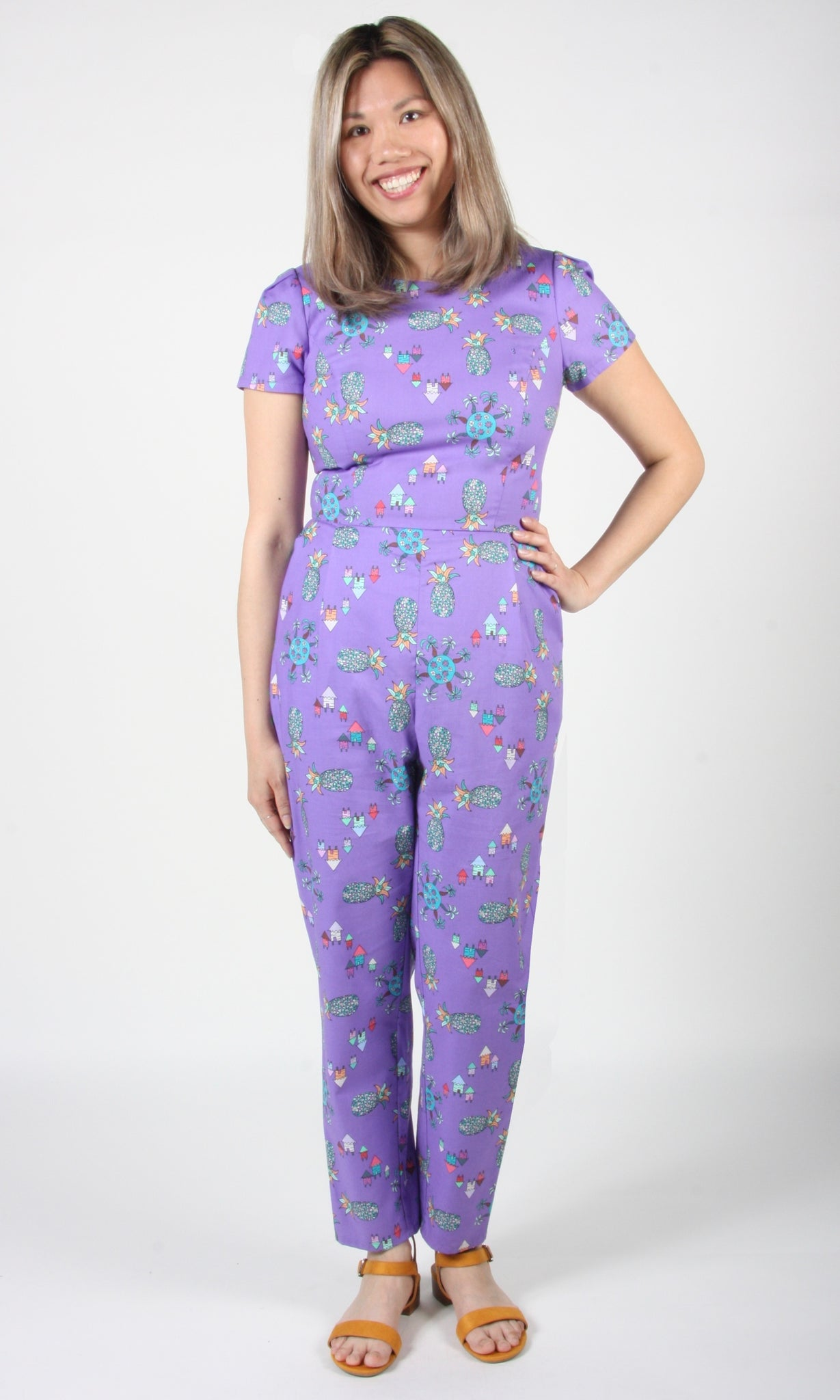 Auk Jumpsuit - Purple Pineapple Party
