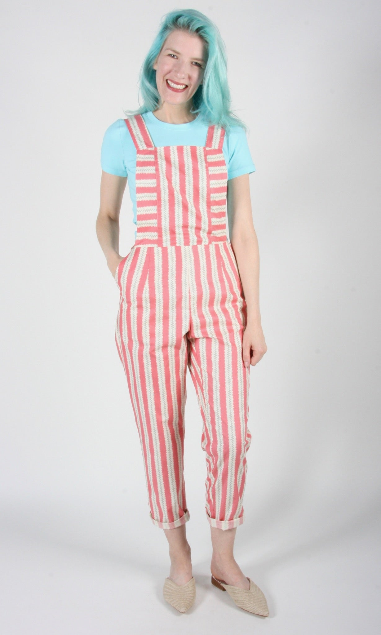 Bunting Overalls - Rose Stripe