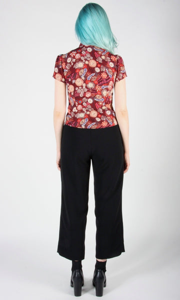 Catbird top - Burgundy Flower Burst