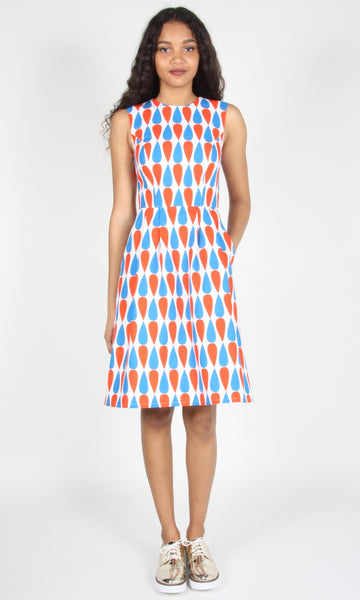 Gravateiro Dress- Red/Blue
