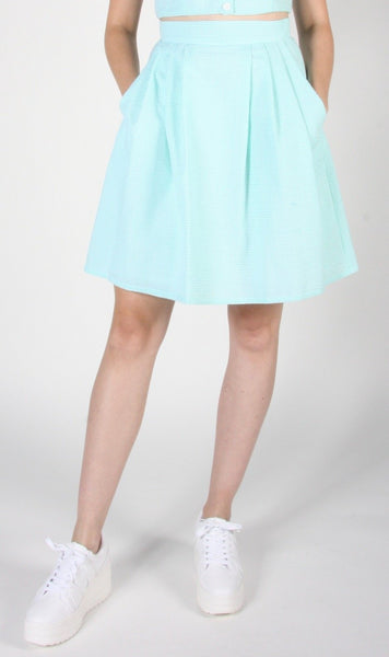 Starique Skirt - Mint Seersucker