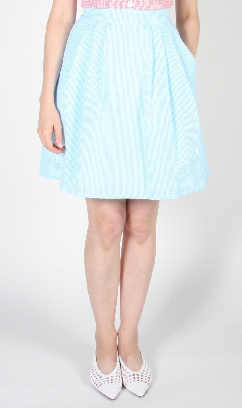 Starique Skirt - Sky Seersucker