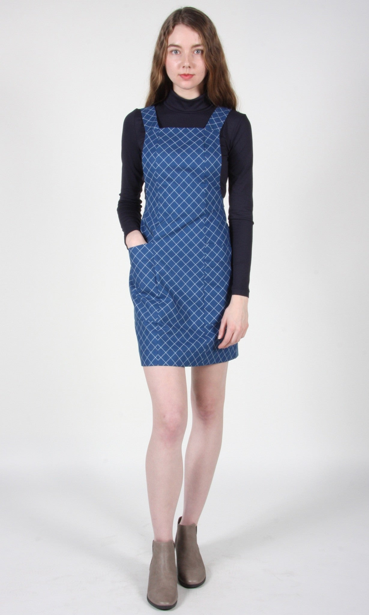 Leiothrix Tunic - Blue Crosshatch