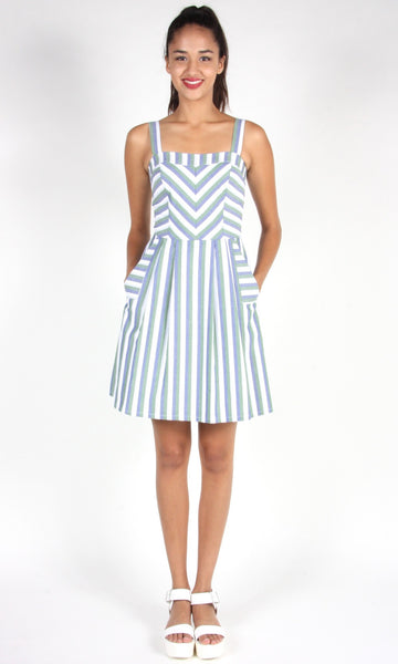 Minivet Dress - Blue and Green Stripe