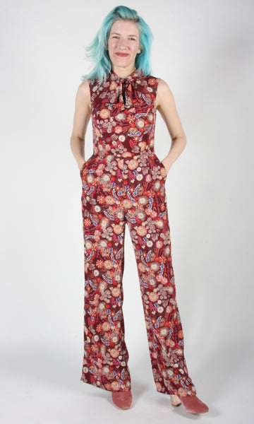 Needletail Jumpsuit - Burgundy Flower Burst
