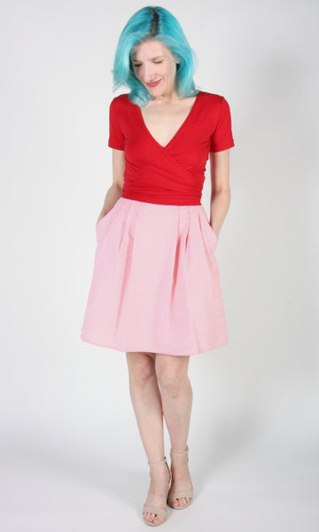 Starique Skirt - Rose Seersucker