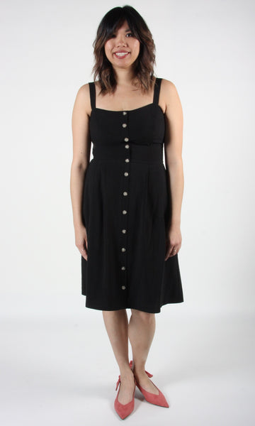 Pluvier Dress - Black Linen