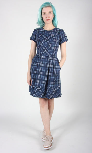 Pyrrhuloxia Dress - Blue Plaid