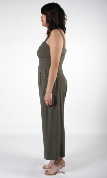 Sandgrouse Jumpsuit - Olive Linen