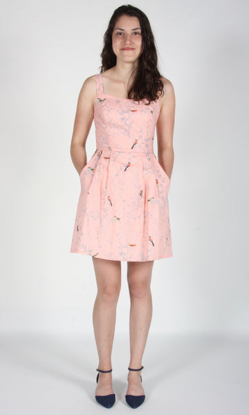 Starfrontlet Dress - Pink Forest Birds