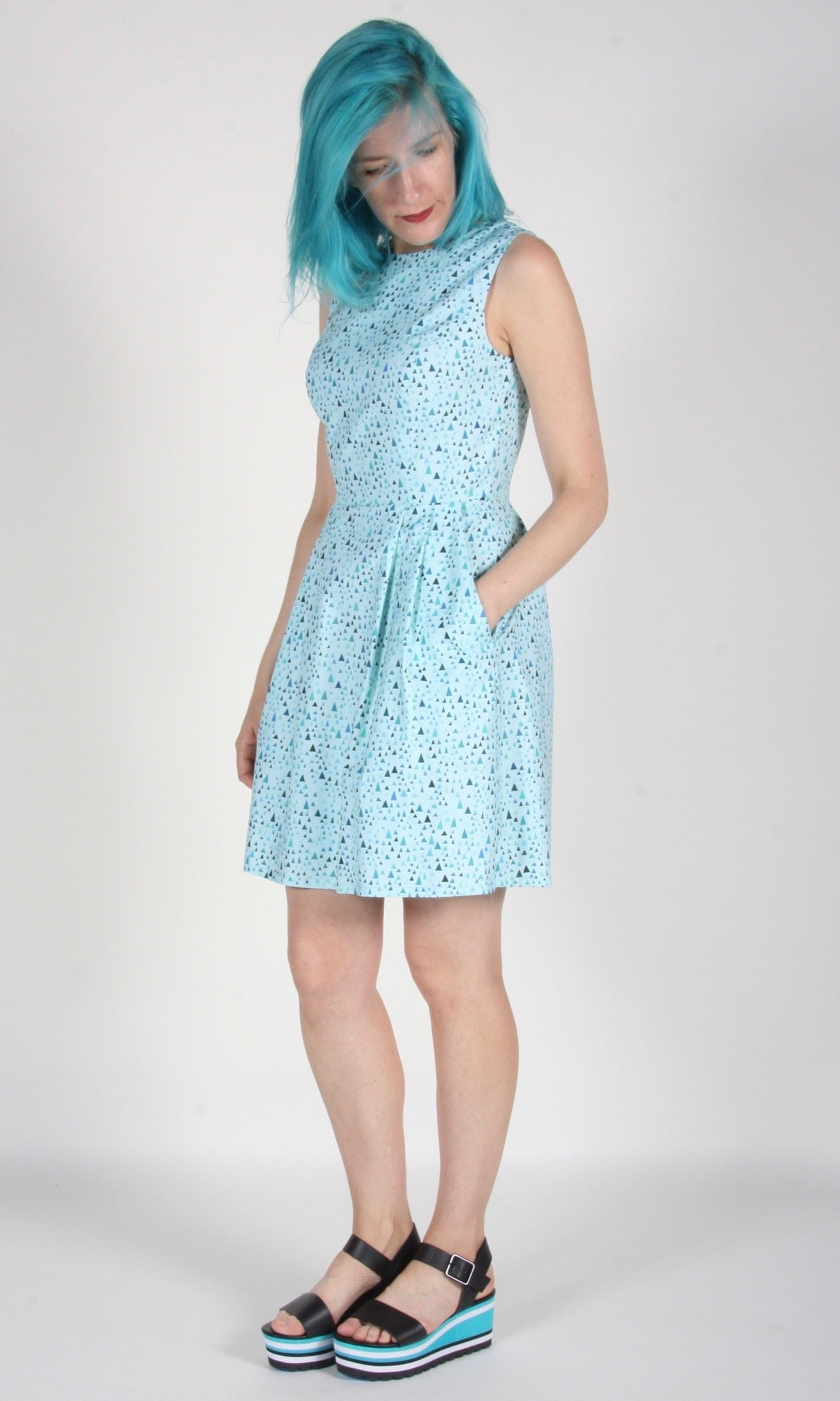 Willet Dress - Aqua Triangle Confetti