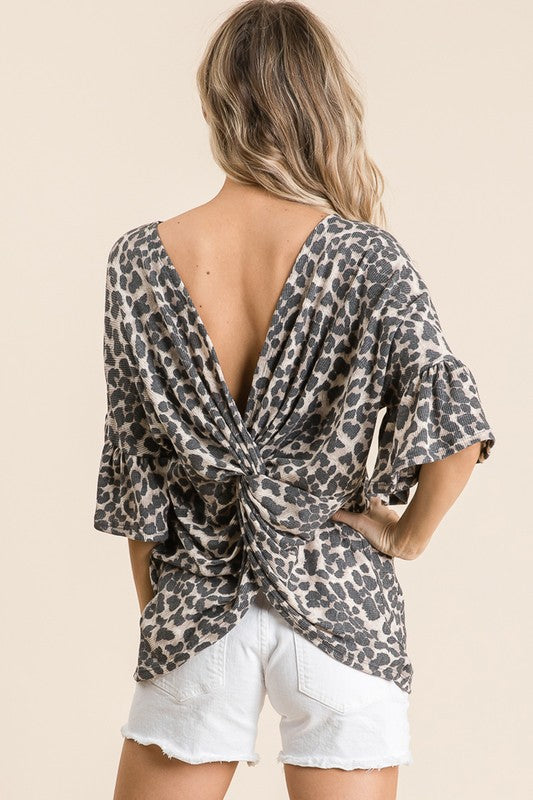 Kerri - Leopard Twisted Back Top