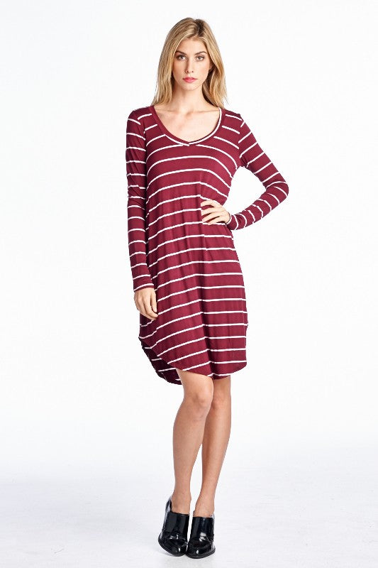 Devin - Striped V-Neck Dress
