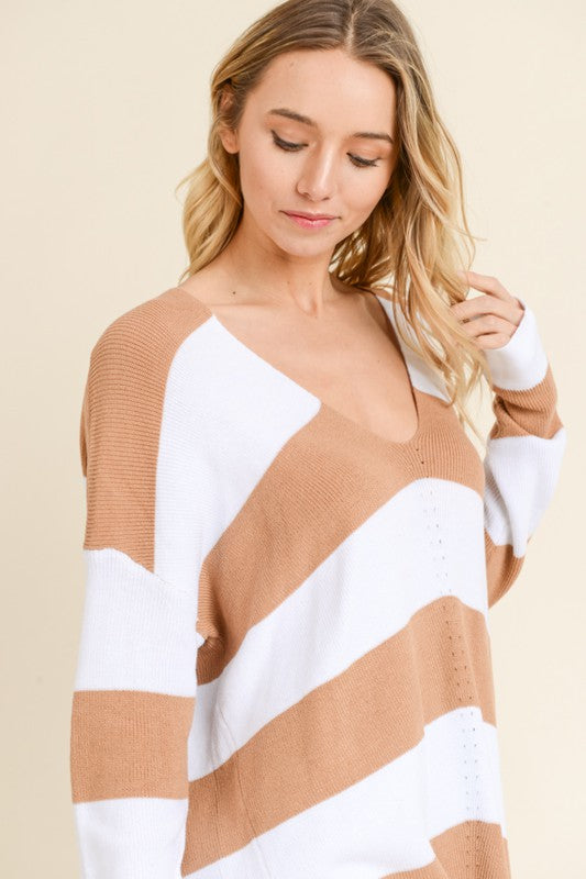 Taupe Stripe V-neck Sweater
