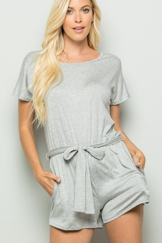 Charcoal Ruffle Belt Romper