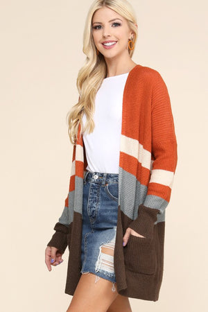 Fall Color Block Cardigan