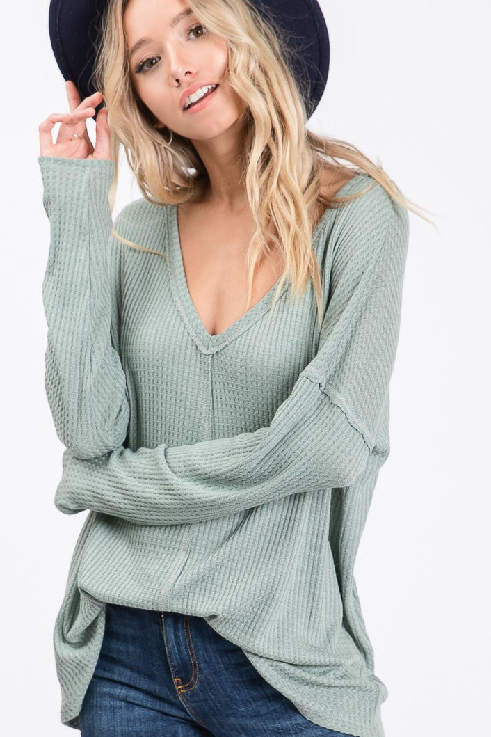 Dusty Sage Waffle Knit V-Neck Top