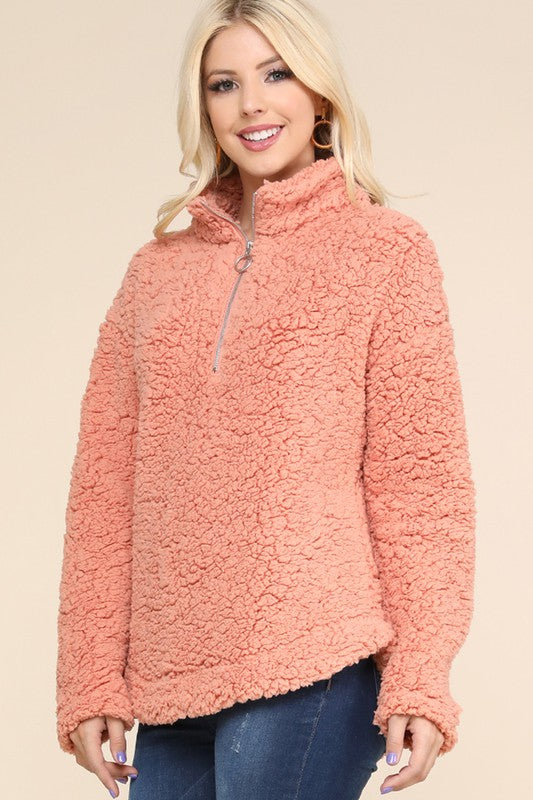 Peach 1/4 Pull Over Fleece